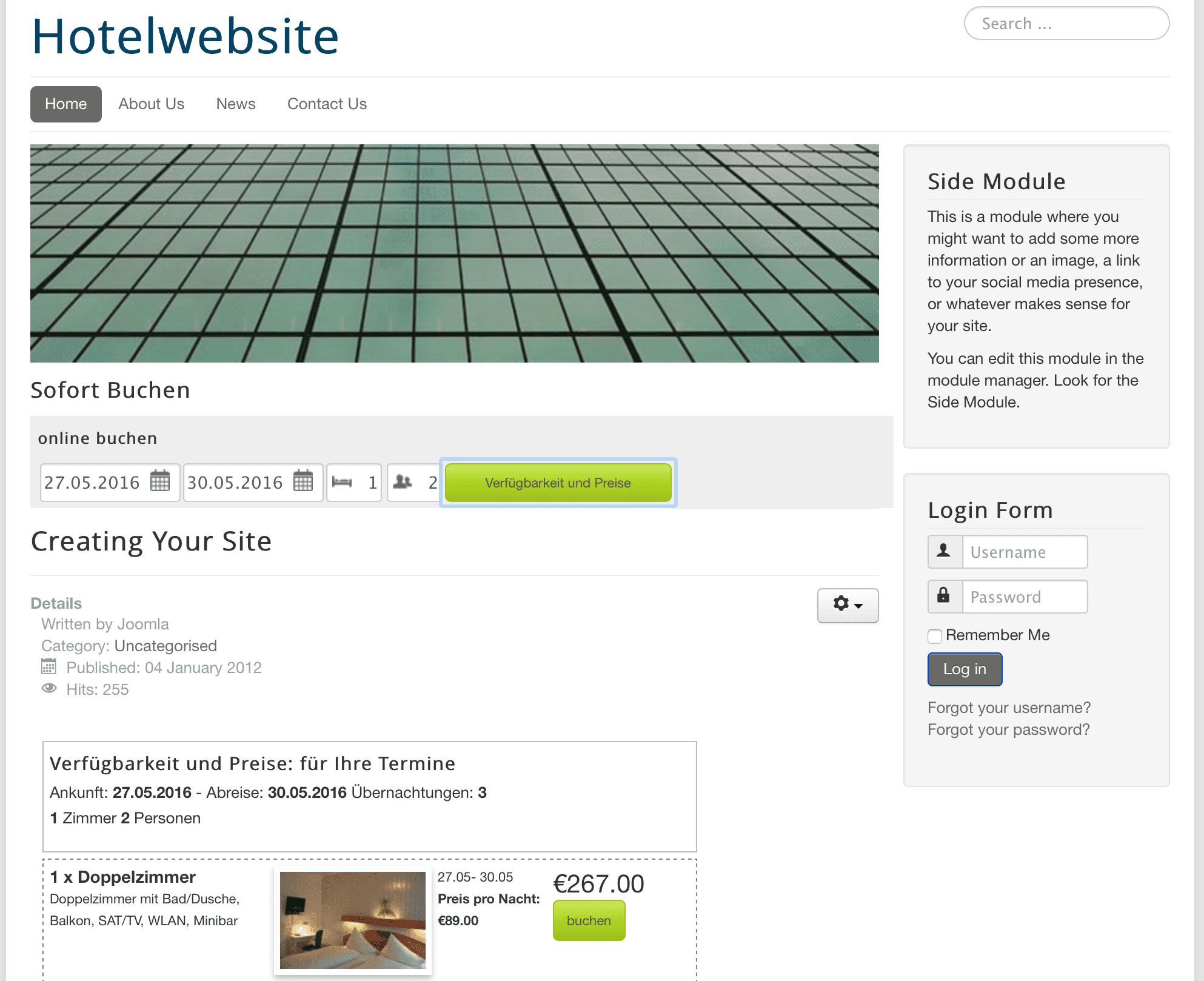 So sieht die Website mit dem igumbi Buchhunsgsystem fürHotels und Ferienwohnungen aus wenn das Buchungstool im Joomla Modul auf Position 3 gestellt wird.
