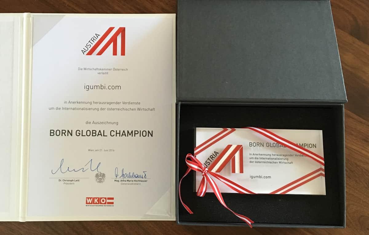 Die Auszeichnung Born Global Champion der WKO wurde im Juni 2016 an  igumbi Hotelsoftware vergeben.