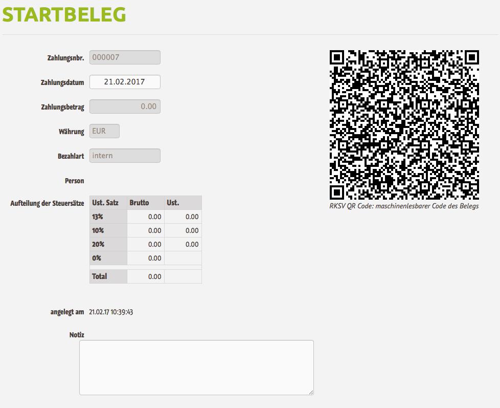 Registrierkasse RKSV Startbeleg mit QR Code - Darstellung des Maschinenlesbaren Code
