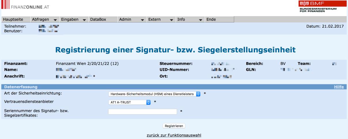 Anlage des A-Trust Zertifikats in Finanzonline (FON): Registrierung einer Signaturerstellungseinheit für die RKSV