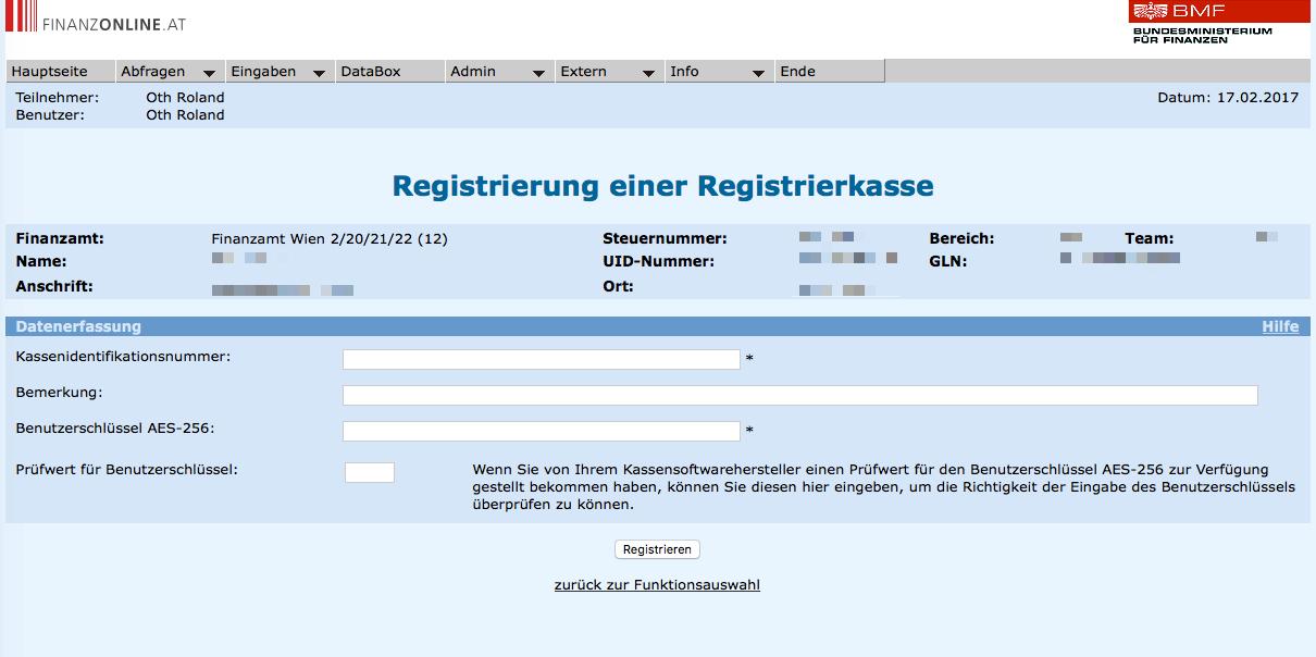 in Finanzonline (FON) für die RKSV: AES Schlüssel eintragen