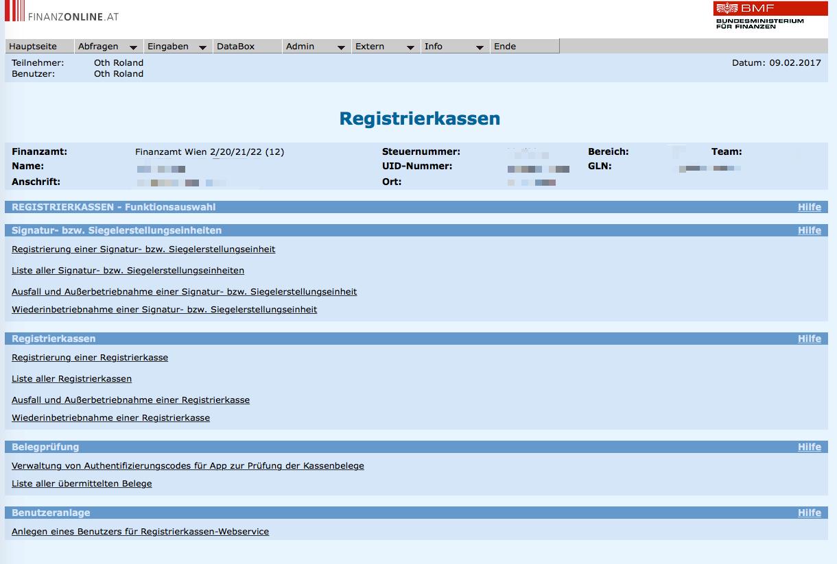 Das Menü im FinanzOnline Portal um die RKSV Registrierkassenfunktionen zu administrieren.
