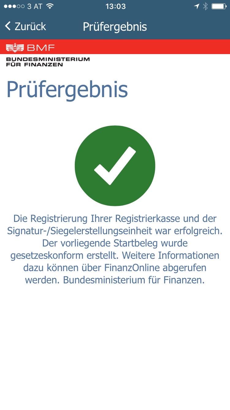 Die Prüfung des Registrierkassen Startbelegs mit der BMF Belegcheck App ist OK.
