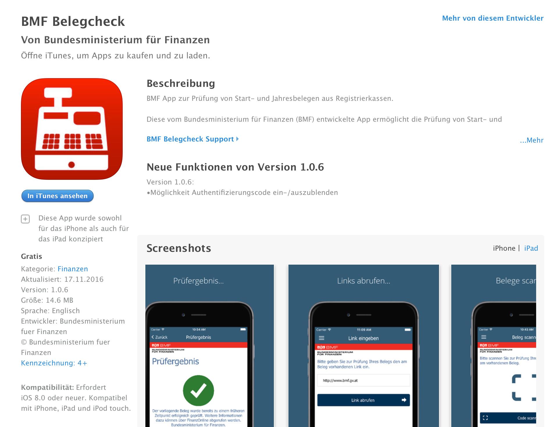 BMF Belegscheck App im App Store. Eine App um den Registrierkassen RKSV Startbeleg oder Jahresbeleg zu scannen und an FinanzOnline zu übermitteln.