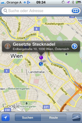 Geodaten Stecknadel setzen in Google Maps am iPhone