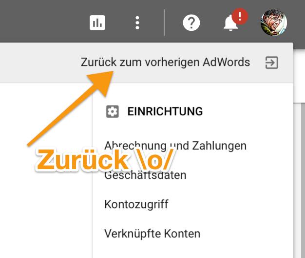 Wie kommt man zum vorigen Adwords UI