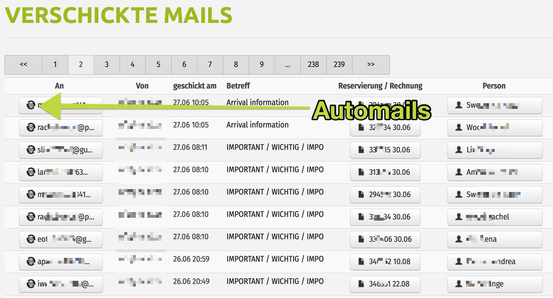 Liste der E-Mails die mit dem Automailer aus der igumbi Hotelsoftware verschickt wurden.