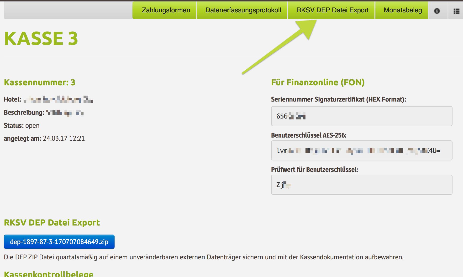 RKSV DEP-Export als ZIP Datei aus der igumbi Hotelsoftware herunterladen