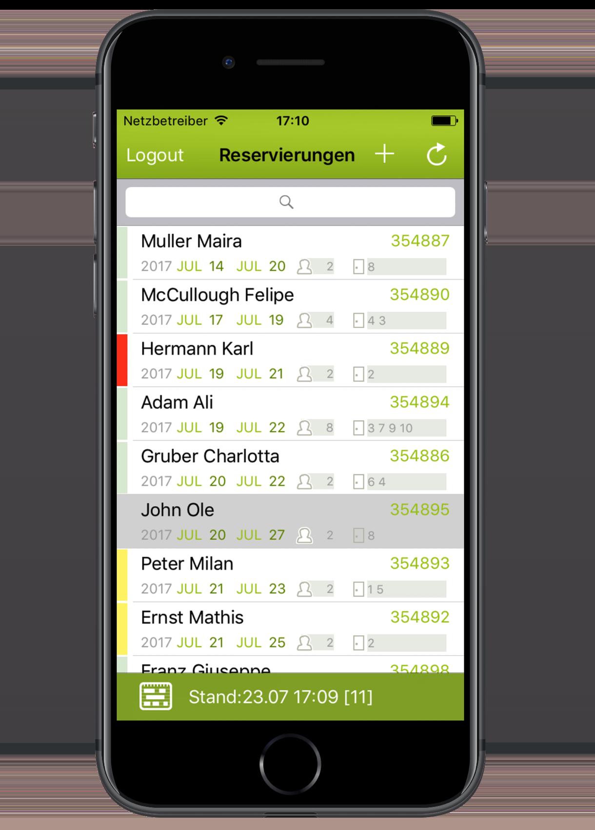 igumbi Hotelsoftware iPhone App: die Reservierungsliste mit der Suchfunktion am iPhone 7