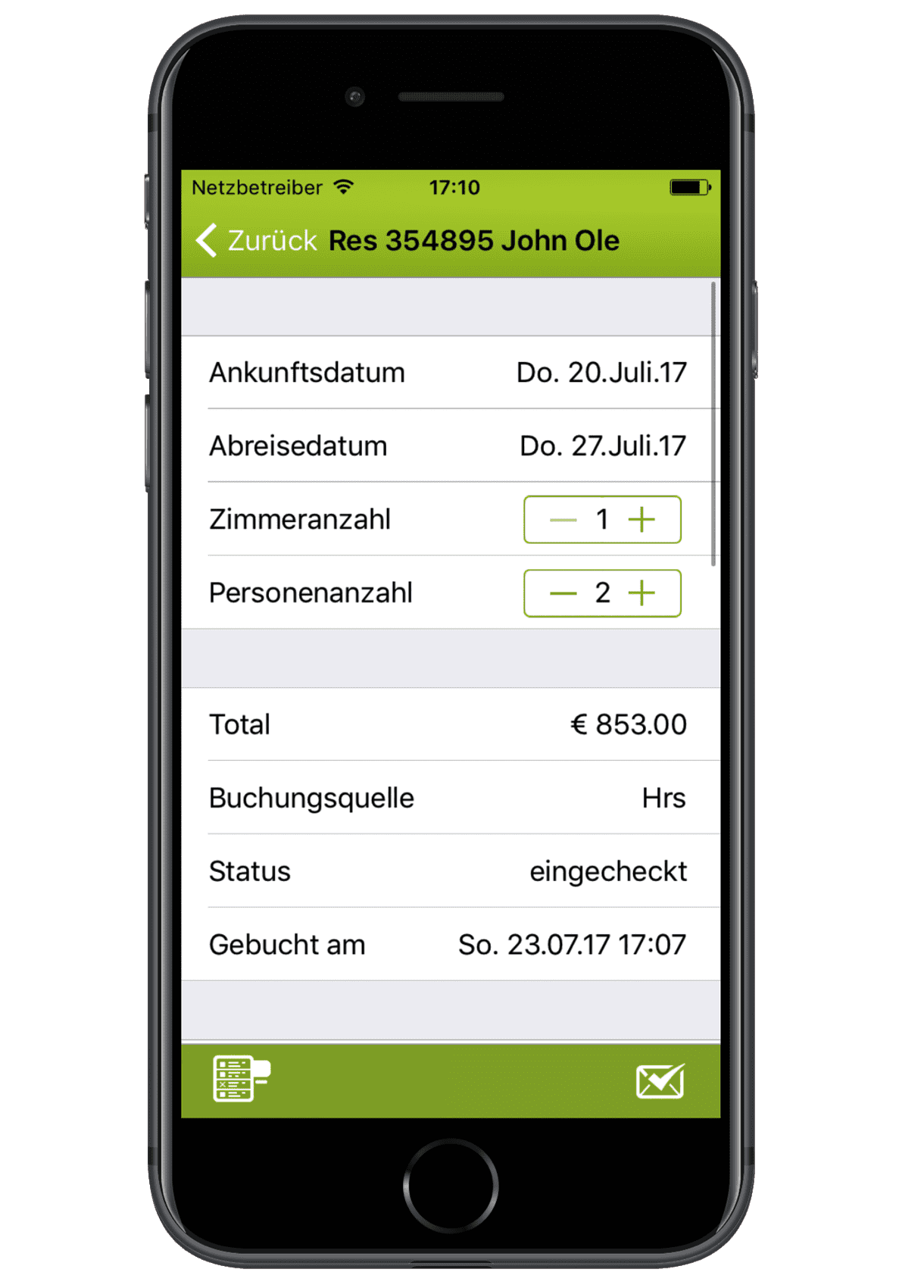 igumbi Hotelsoftware iOS/ iPhone App: eine neue Reservierung anlegen am iPhone 7.