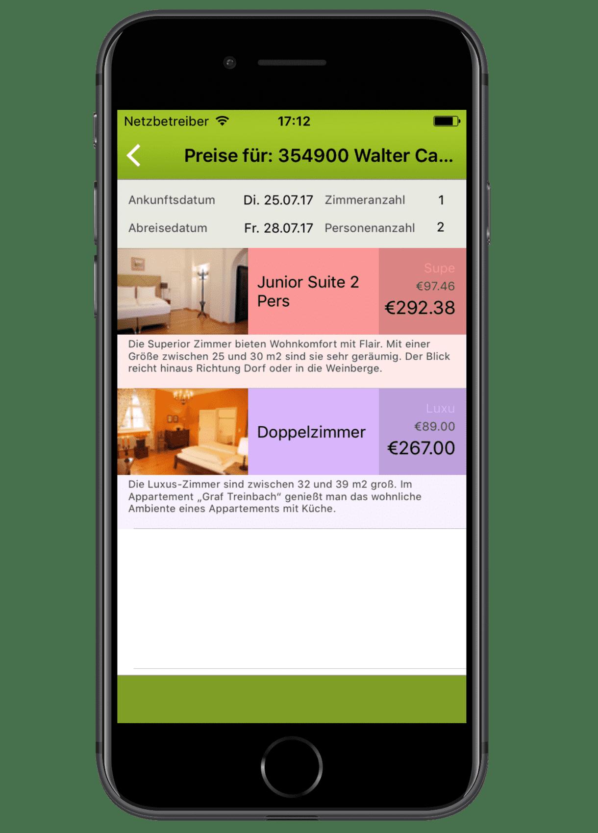 igumbi Hotelsoftware iPhone App: Preise einer Reservierung zuteilen am iPhone 7. Hotel App