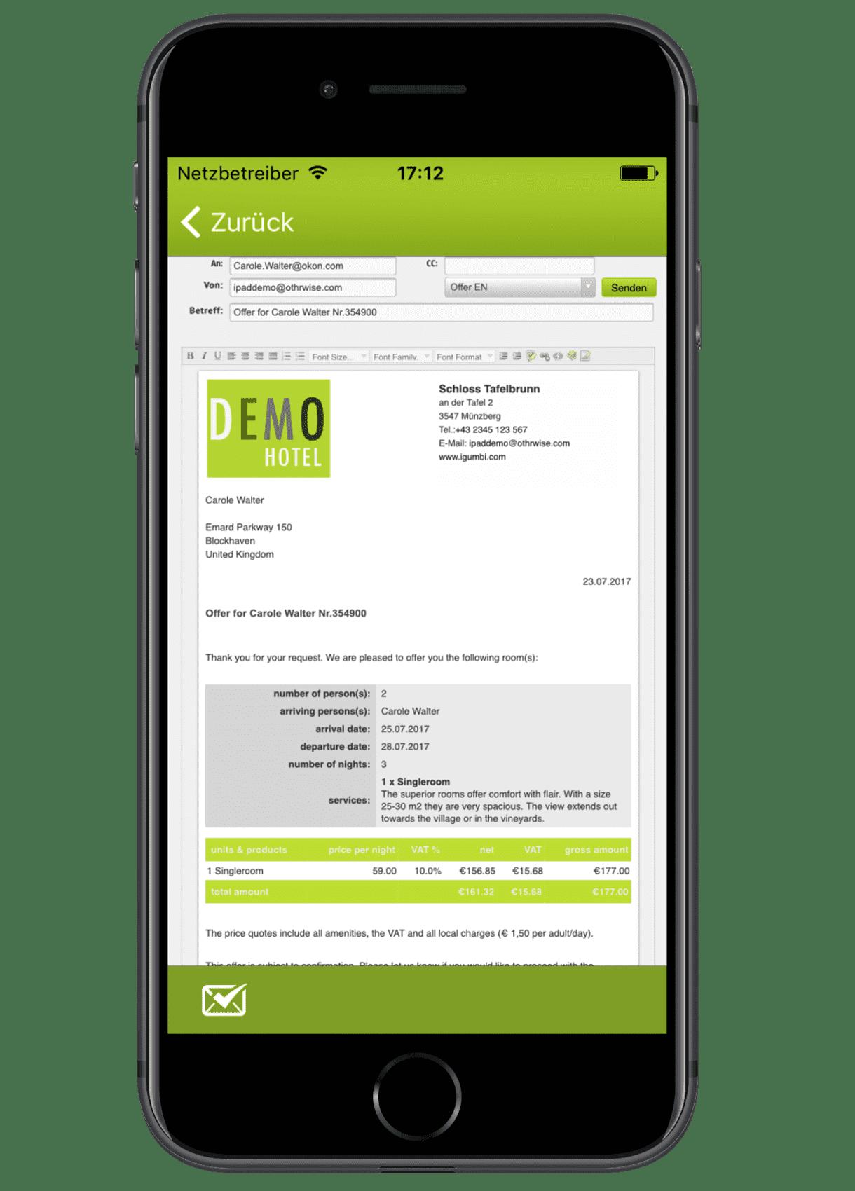 igumbi Hotelsoftware iPhone App: Angebote und Buchungsbestätigungen versenden mit den E-Mail Vorlagen am iPhone 7.