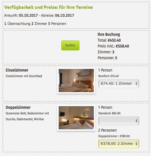 Angebotsdarstellung im online Buchungstool für Hotels für komplexere Anfragen: 2 Zimmer, 5 Personen