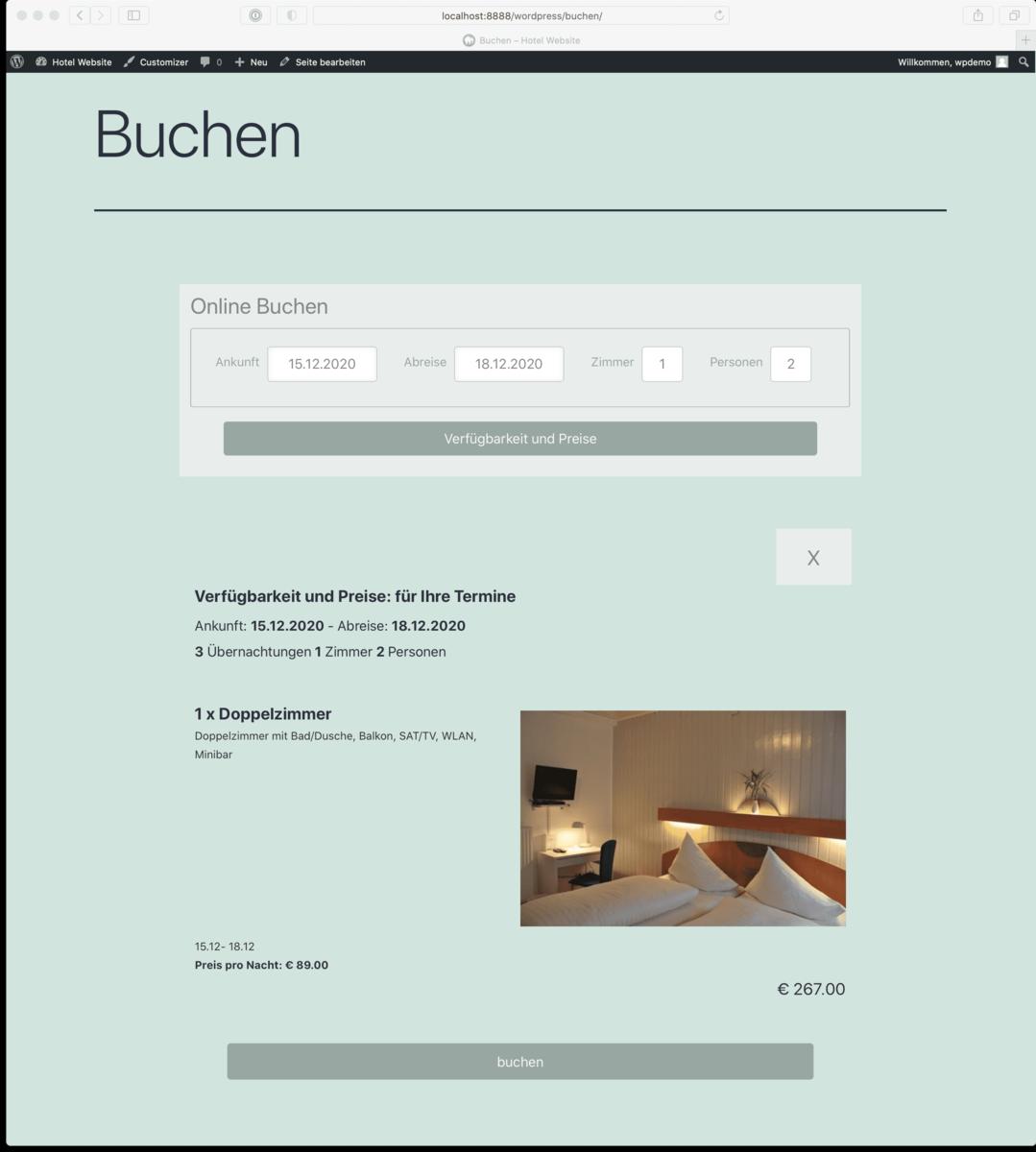 Mit dem igumbi-online-booking Plugin wird das Hotel Buchungstool in die WordPress Wesbsite im responsive Modus eingebettet.