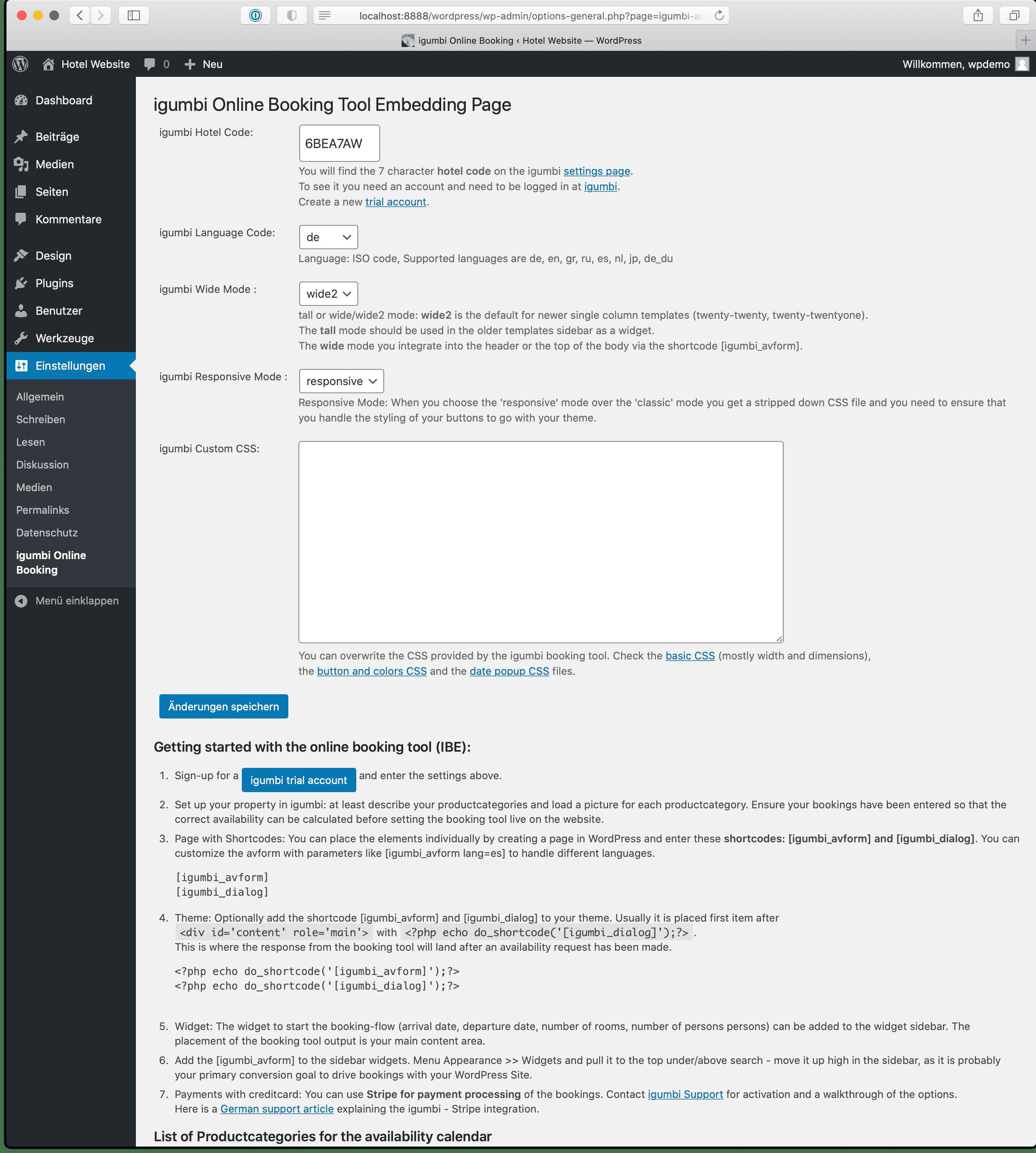Einstellungen in der Admin Maske für das igumbi-online-bookings WordPress Plugin