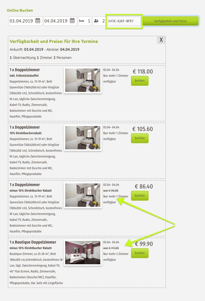 Nach der Eingabe des Rabattcodes/ Discountcode/ Promocode wird der Rabatt im Angebot des online Hotel Buchungstools angewandt.