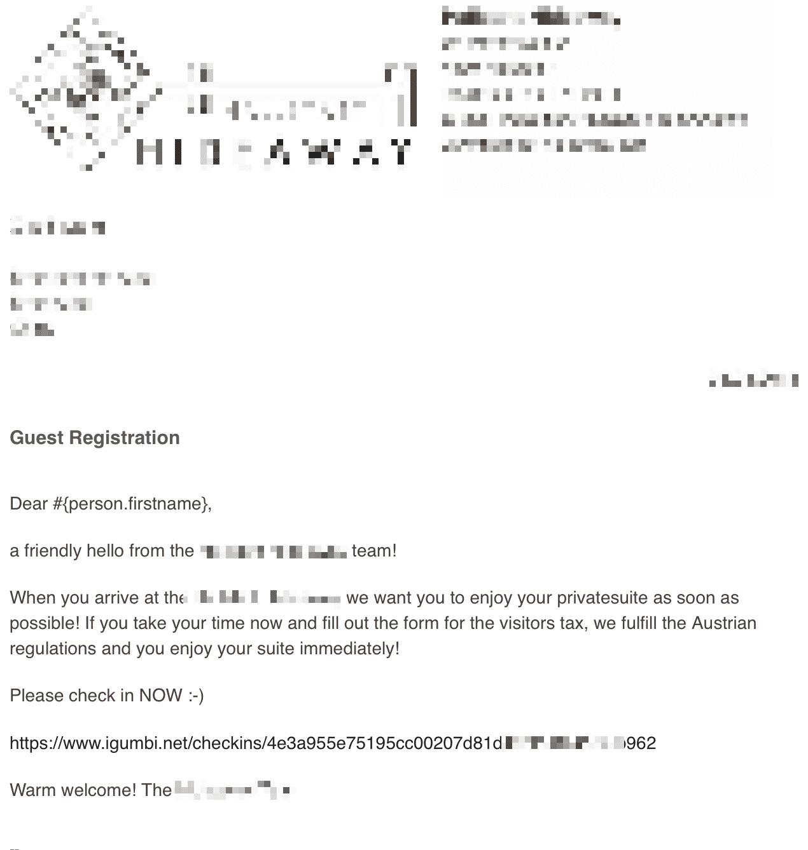 Checkin E-Mail wird an den Gast verschickt damit die Meldedaten / Gästeblattdaten vom Gast ausgefüllt werden.