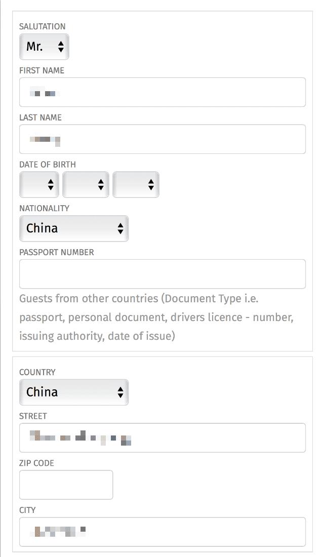 Durch Responses Layout ist das Check-In Formular auch am Smartphone ausfüllbar.
