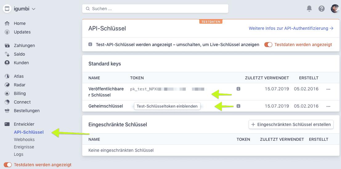 Hier holen Sie die API Schlüssel (Keys) um Stripe mit der igumbi Hotelsoftware zu verbinden