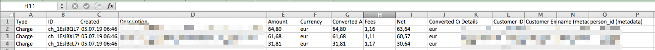 Stripe Zahlungsdaten als CSV Datei beim Auszahlungsbeleg herunterladen
