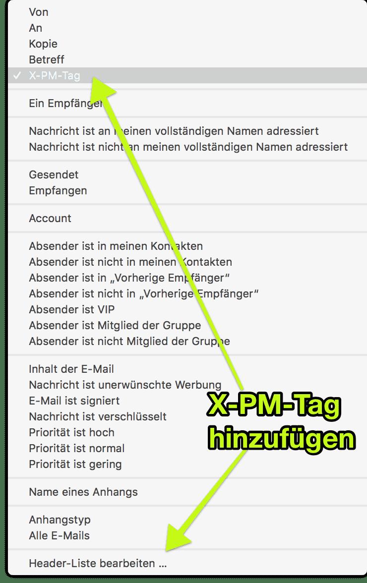 X-PM-Tag in Mac Mail hinzufügen um damit Inbox Regeln zum verschieben zu erstellen