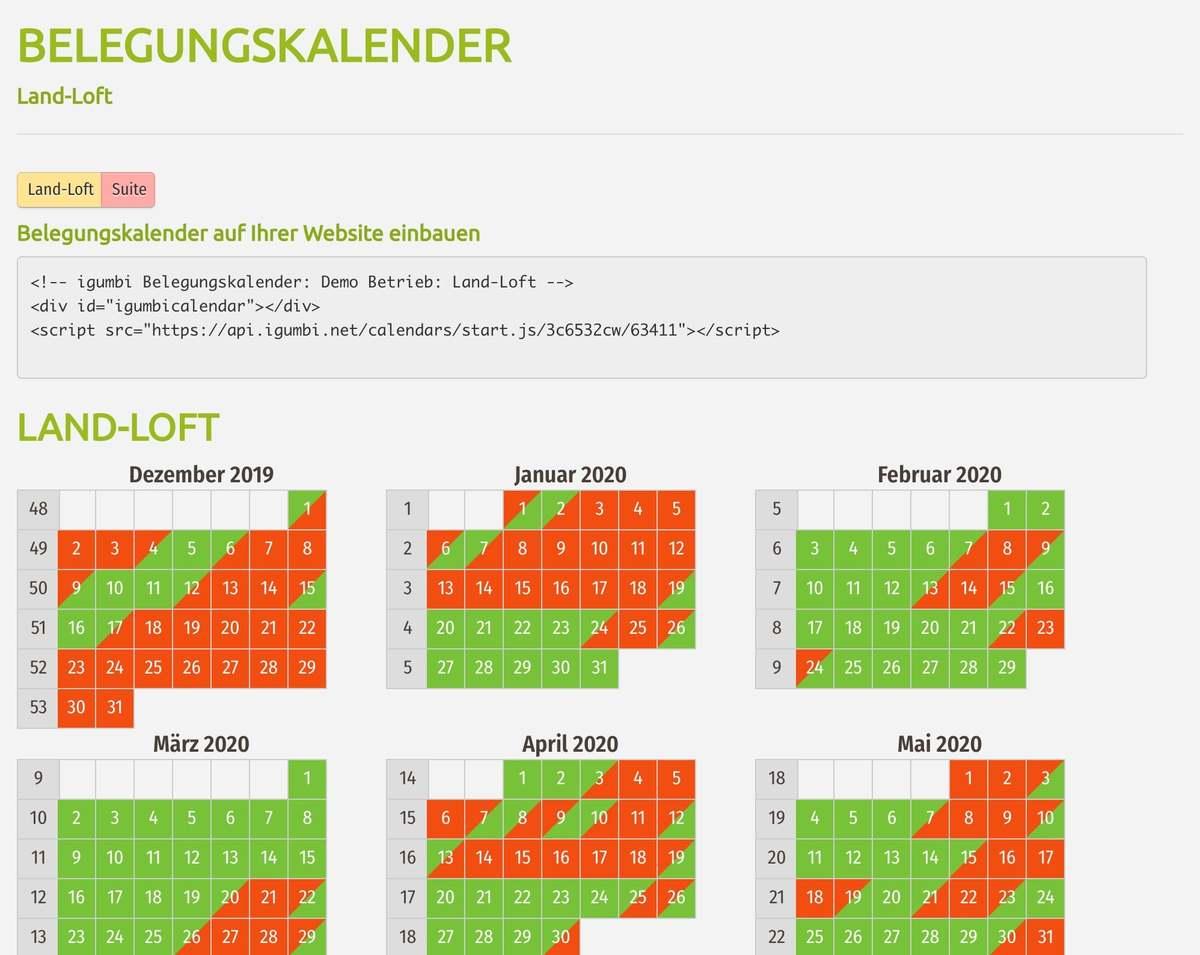 Der Belegungskalender fasst die Verfügbarkeit von Ferienwohnungen einer Produktkategorie zusammen und kann auf der Website eingebunden werden.