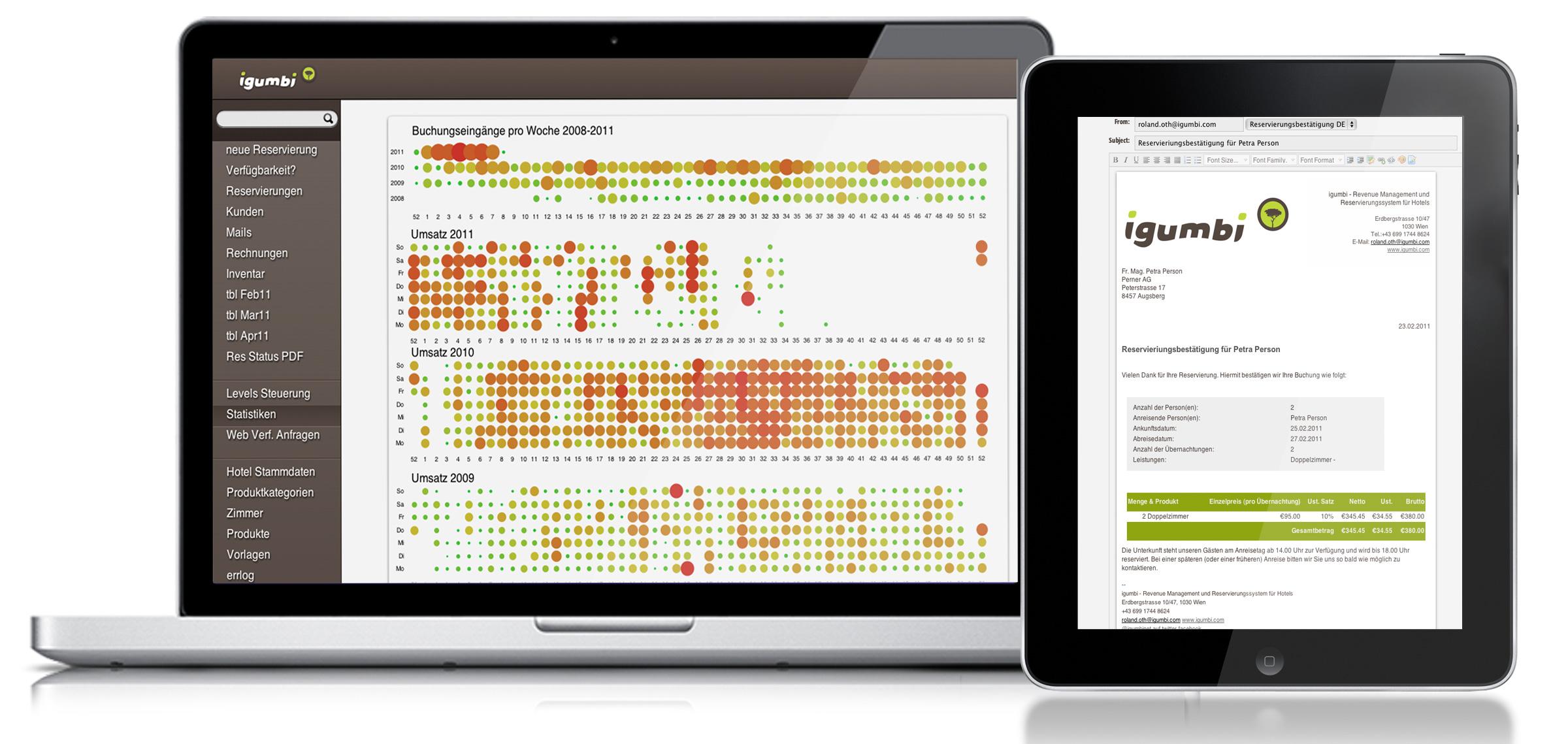 igumbi Hotelsoftware am Computer und am iPad als JPG